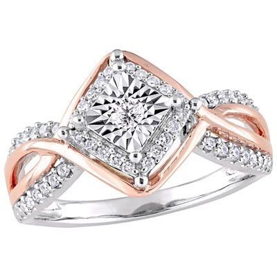 Halo Engagement Ring in 10K White & Rose Gold with 0.25ctw Round Diamonds – Size 6
