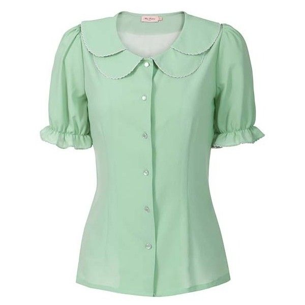 Pearl Princess Blouse Pastel Green 36 Liked On Polyvore Featuring Tops Blouses Shirts Hauts Shirt Top