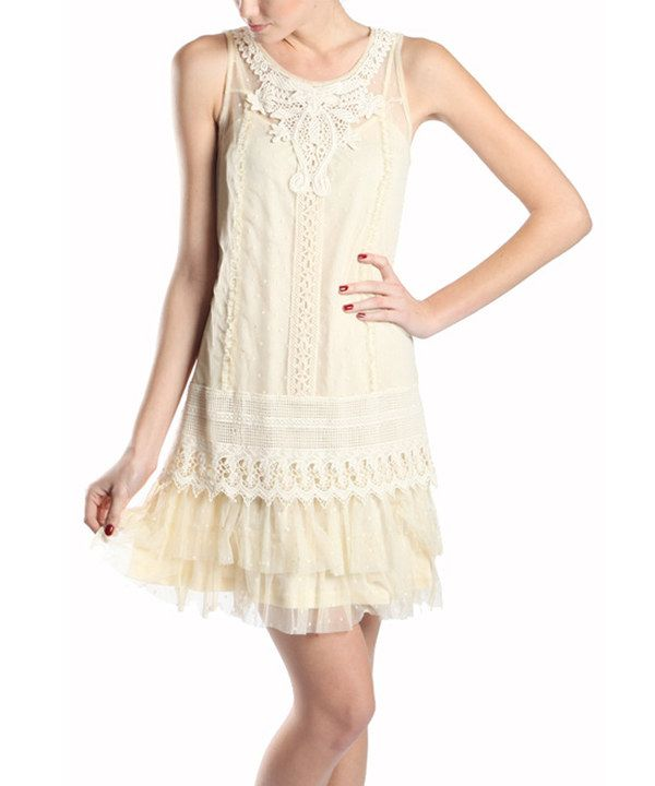 Cream Crochet-Accent Ruffle Sleeveless Dress