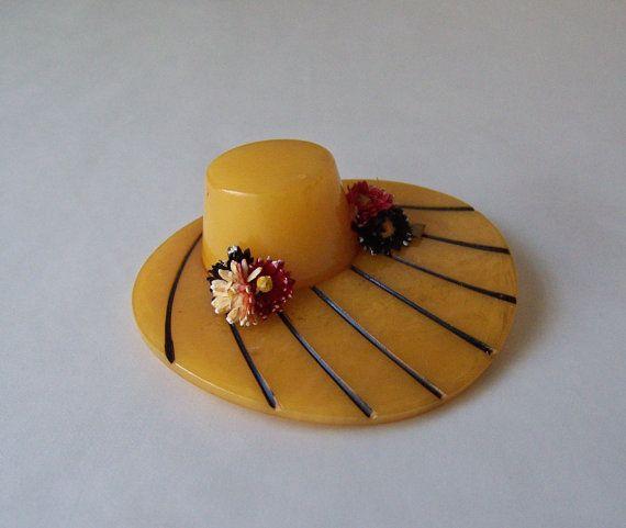 1930s Bakelite broochhat pin