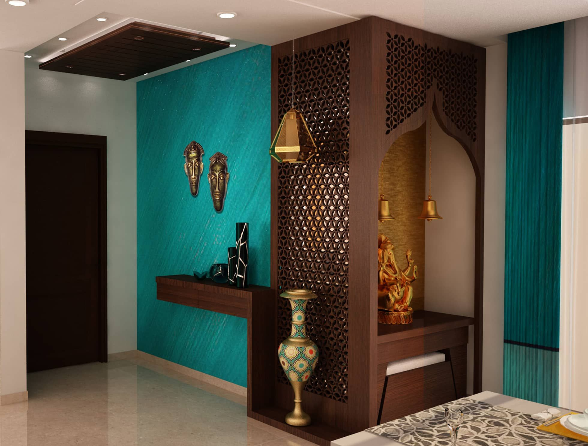 Asian classic style foyer with puja area modern corridor ...