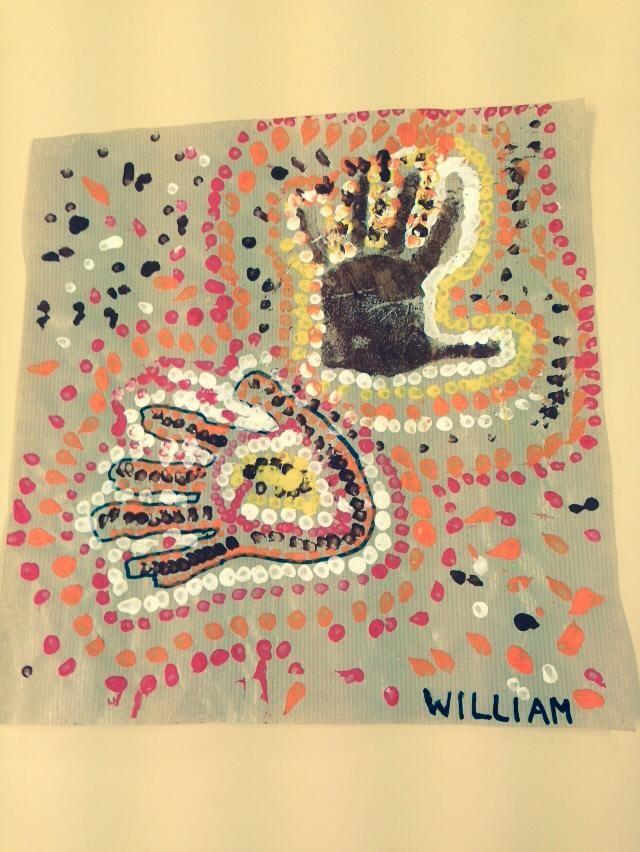 Bevorzugt empreintes de mains, à la manière aborigène, Australie, maternelle  NW43