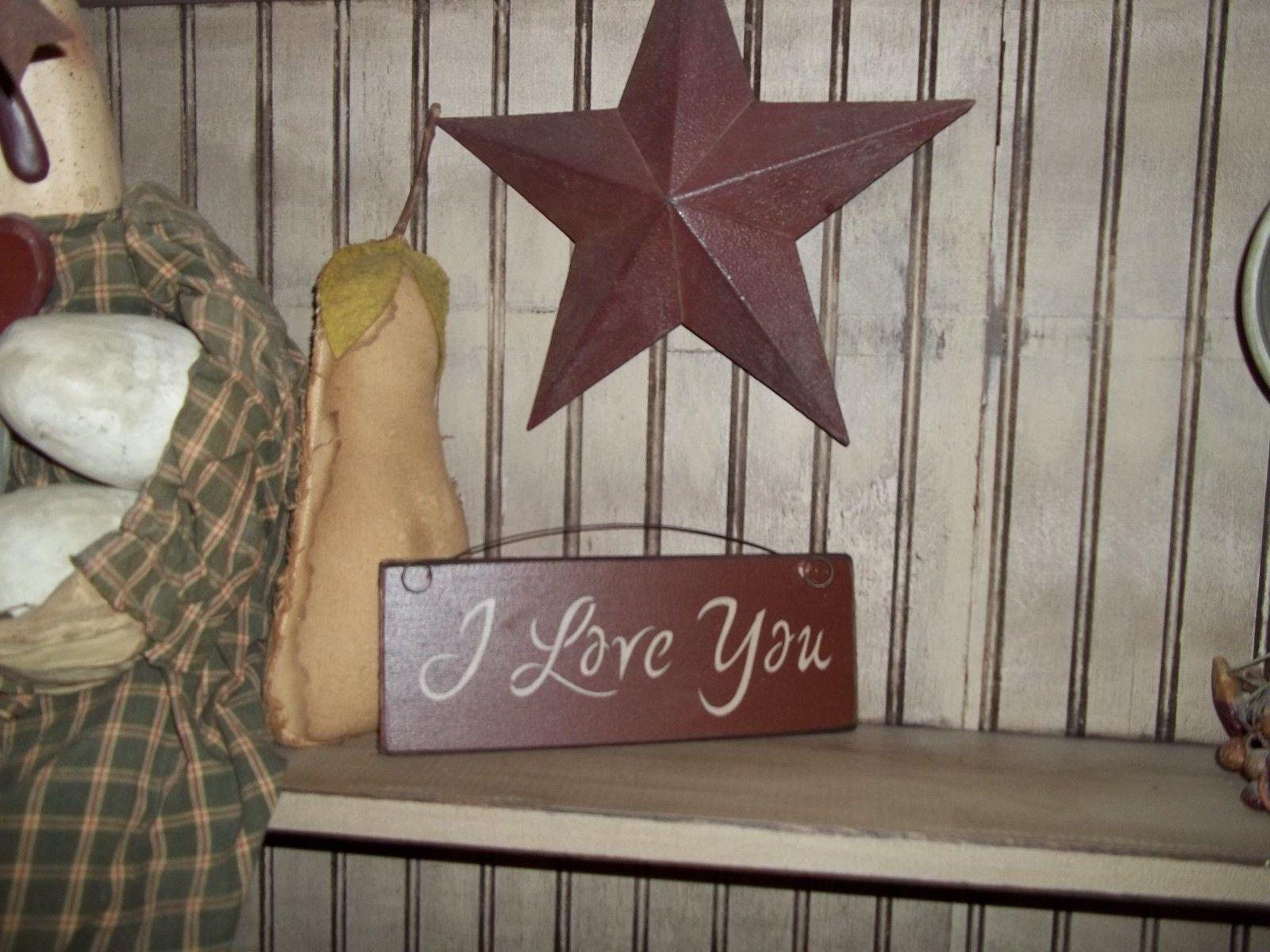 Wood Sign I LOVE YOU Handmade PrimRustic