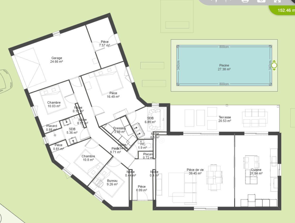 Avis plan maison plain pied en V (10m²) - 10 messages  Plan