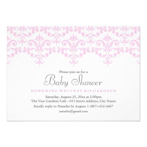 Elegant Pink  White Damask Baby Shower Invitation