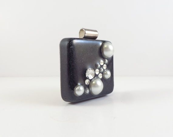 Resin Pendant white pearls crystal rhinestones by FusionFrenzy, $15.00