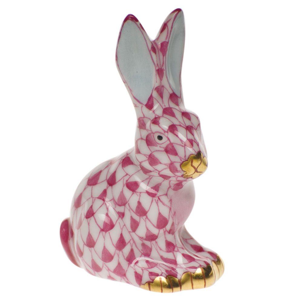 "Herend Kangaroo Hand Painted Porcelain Figurine In Pink: Herend Hand Painted Porcelain Figurine ""Miniature Sitting"