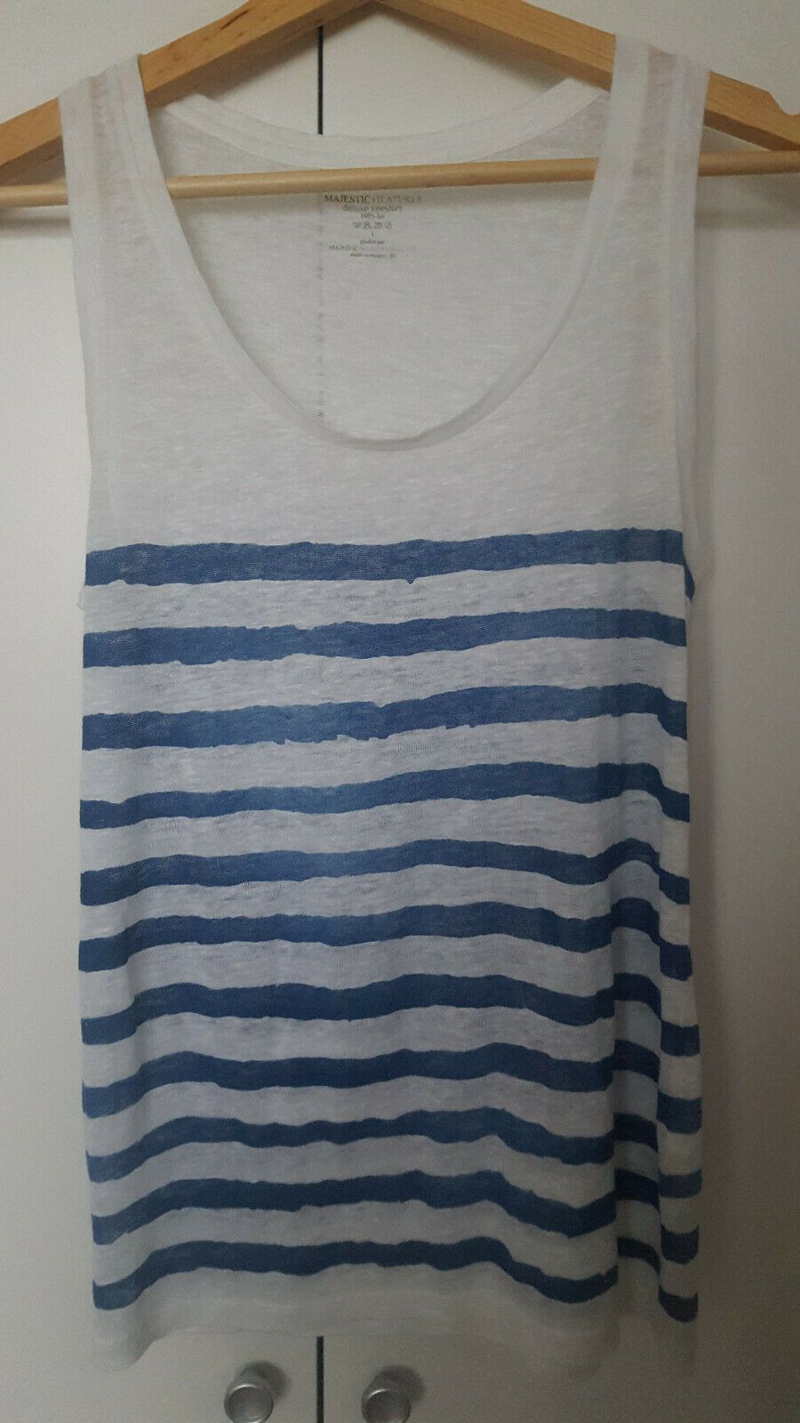 a93fc60cac9db3 Majestic Filatures White and Blue Striped Fine-knit Linen Top - Size ...