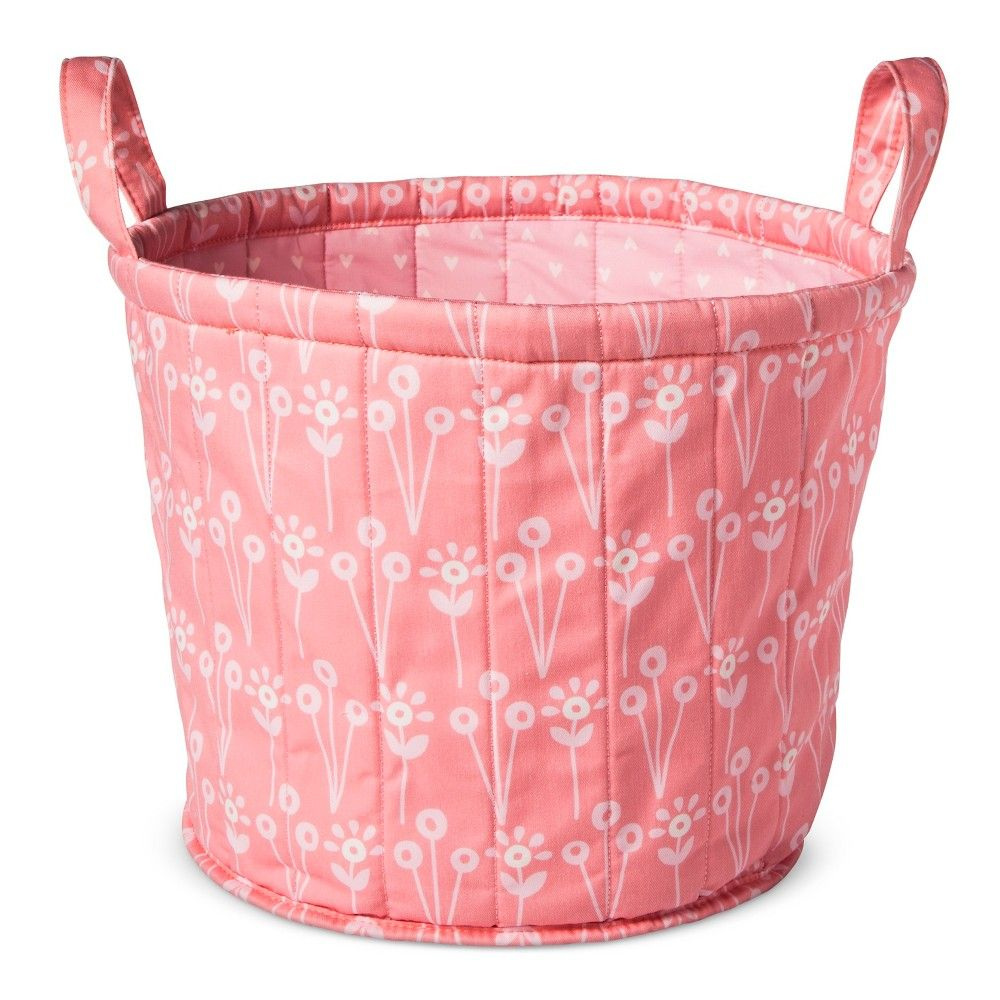 Pink Plastic Laundry Basket Quilted Storage Bin Floral  Cloud Island  Pink  Quilt Storage