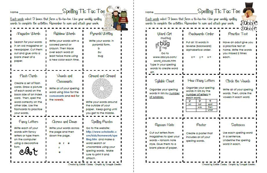 Printables Spelling Homework Worksheets spelling activities for 2nd grade homework and math worksheet menu october on pinterest grade