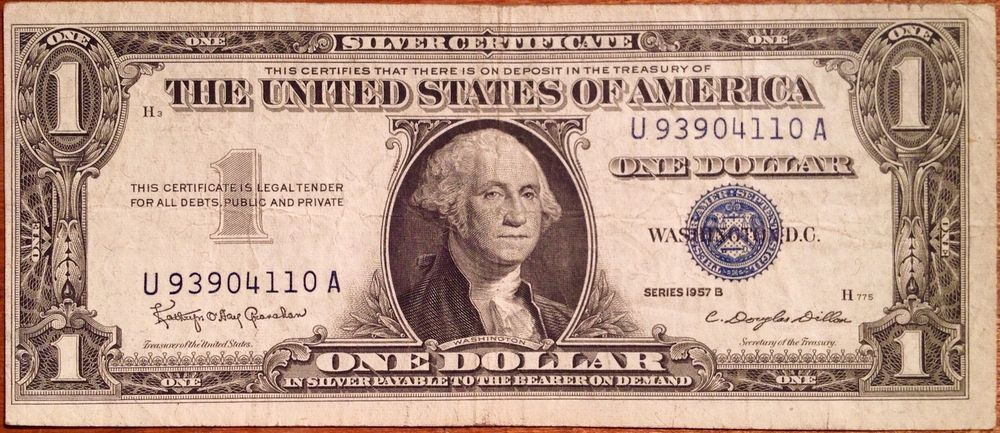 1957b 1 Silver Certificate Blue Seal Note One Dollar Circ Money