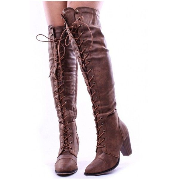 dac13319bdb Tan faux leather lace up long combat style with heel knee high long...  ($20) ❤ liked on Polyvore featuring shoes, boots, combat boots, over-knee  boots, ...