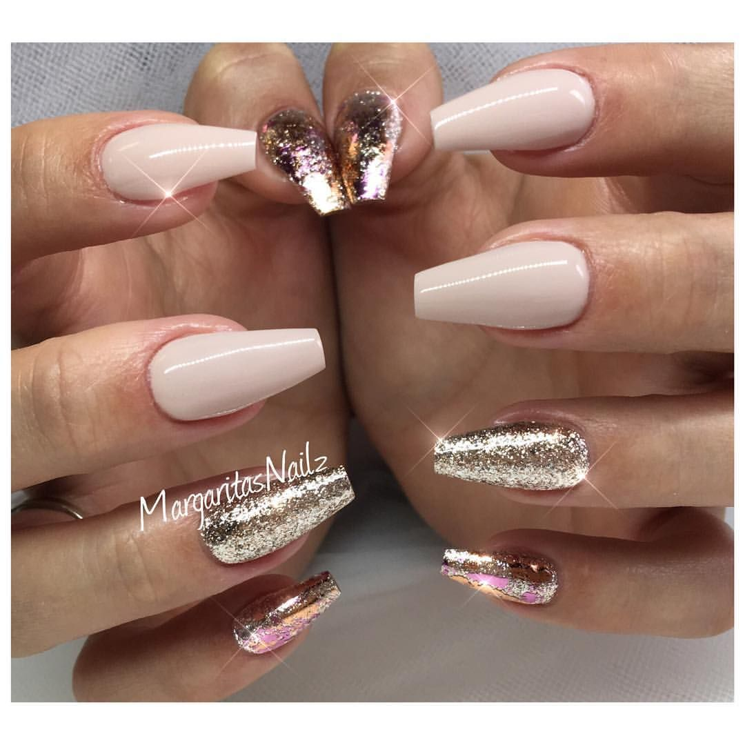 Nude coffin nails rose gold nail design fashion nail art by ...