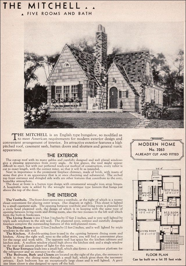 1936 Sears Mitchell Kit House English Cottage Style 20th Century American Residential Architecture Vintage House Plans English Cottage Style Kit Homes
