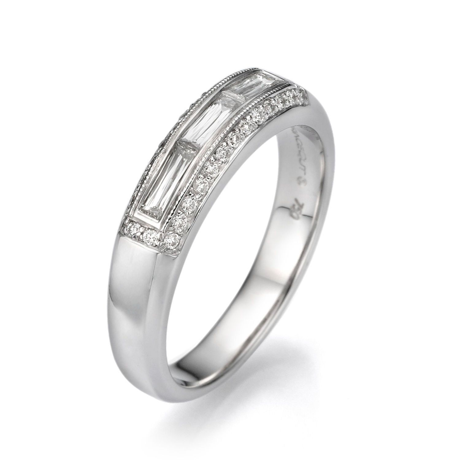two baguette and round diamond regular anniversary gold in wgrg side wedding tone bands band