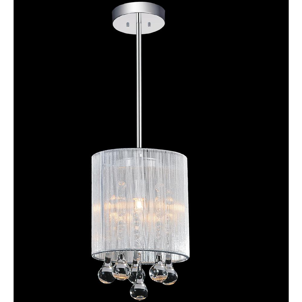1 Light Drum Shade Mini Chandelier with Chrome finish
