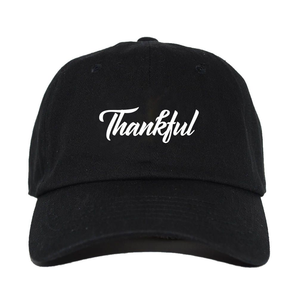 Thankful Cursive Calligraphy Embroidered 6 Panel Cotton Adjustable Baseball  Dad Cap Hat - Thanksgiving Day - Men and Women - One Size by  TopCrownClothing on ... 0dc16cf9e196