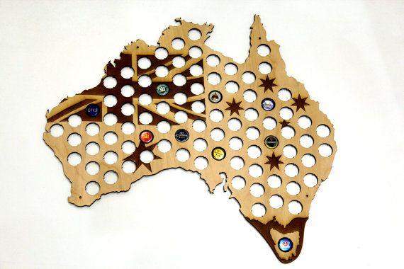 Australia Beer Cap Map LASER ENGRAVED, Beer Bottle Cap Holder, Beer Cap Display, Beer Gift, Gift for Him, Groomsmen gift, Father's Day