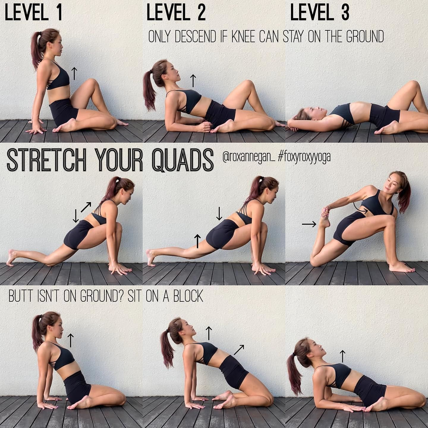 How To Stretch Your QuadsOur quads, they are always so tight, aren't they?  Do you know that tight quads affect your ba… | Tight quads, Daily yoga  routine, Yoga tips