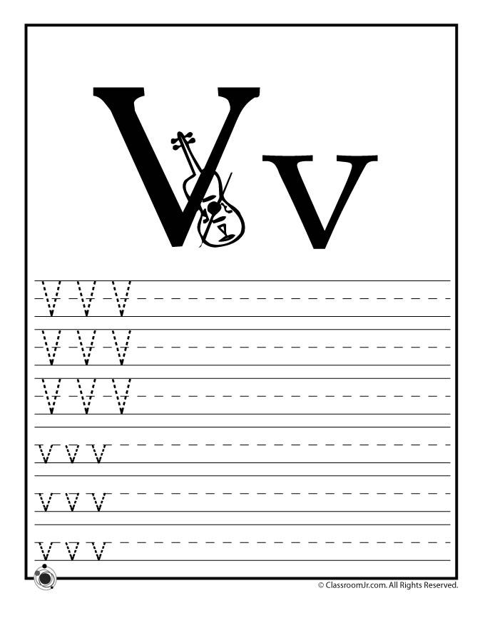 Learning AbcS Worksheets Learn Letter V  Classroom Jr