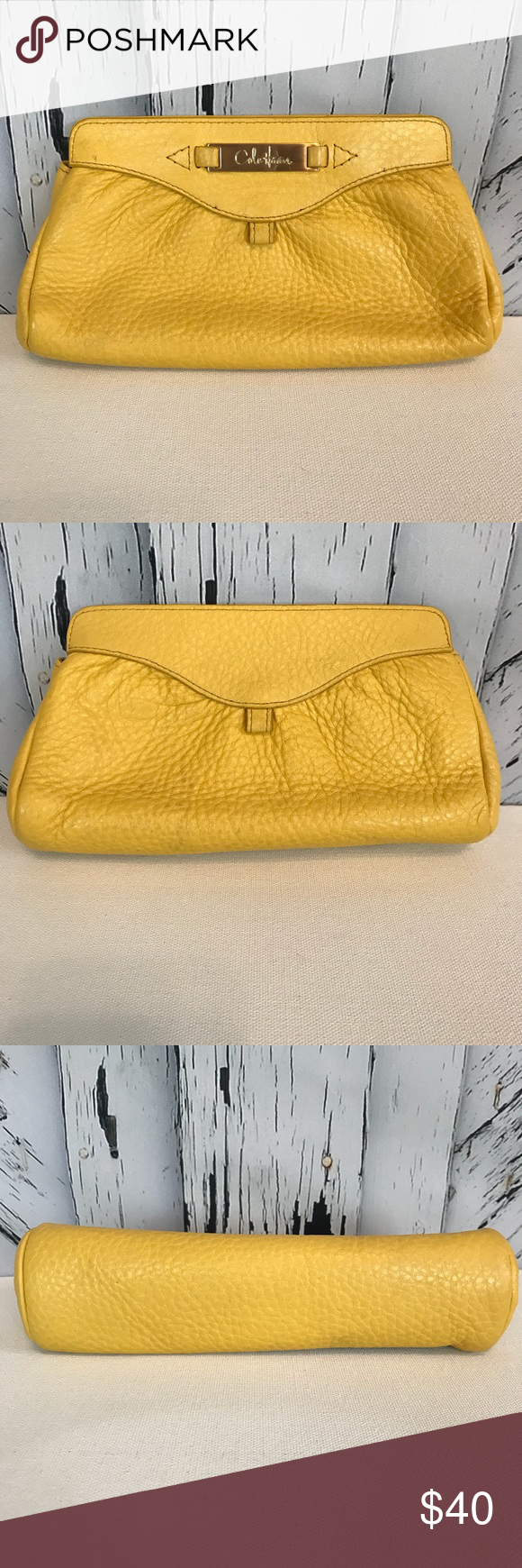 9ccbbd0fd06 Cole Haan Yellow Leather Clutch Purse Bag Adorable little yellow leather  clutch purse. Magnetic closure
