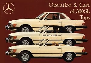 mercedes benz r107 owners manual 107 convertible soft and hard top rh pinterest com 1985 Mercedes 380SL Convertible 1985 Mercedes 380SL Problems
