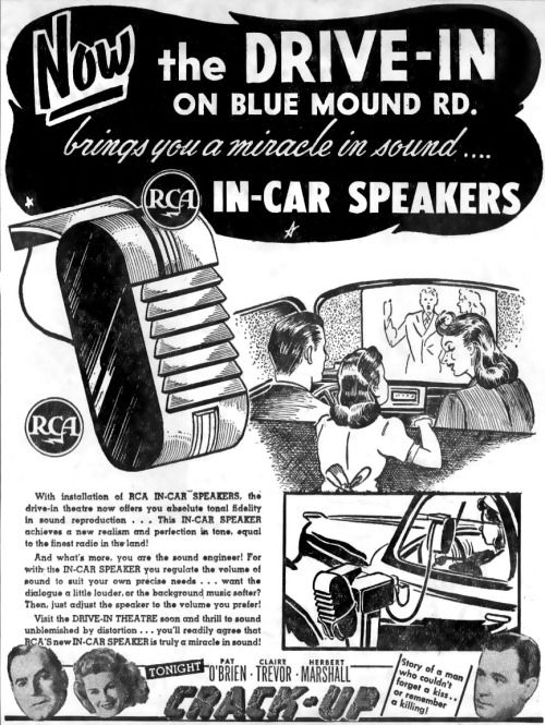 midcenturyamericana:Now at the Drive-In… RCA In-Car Speakers.