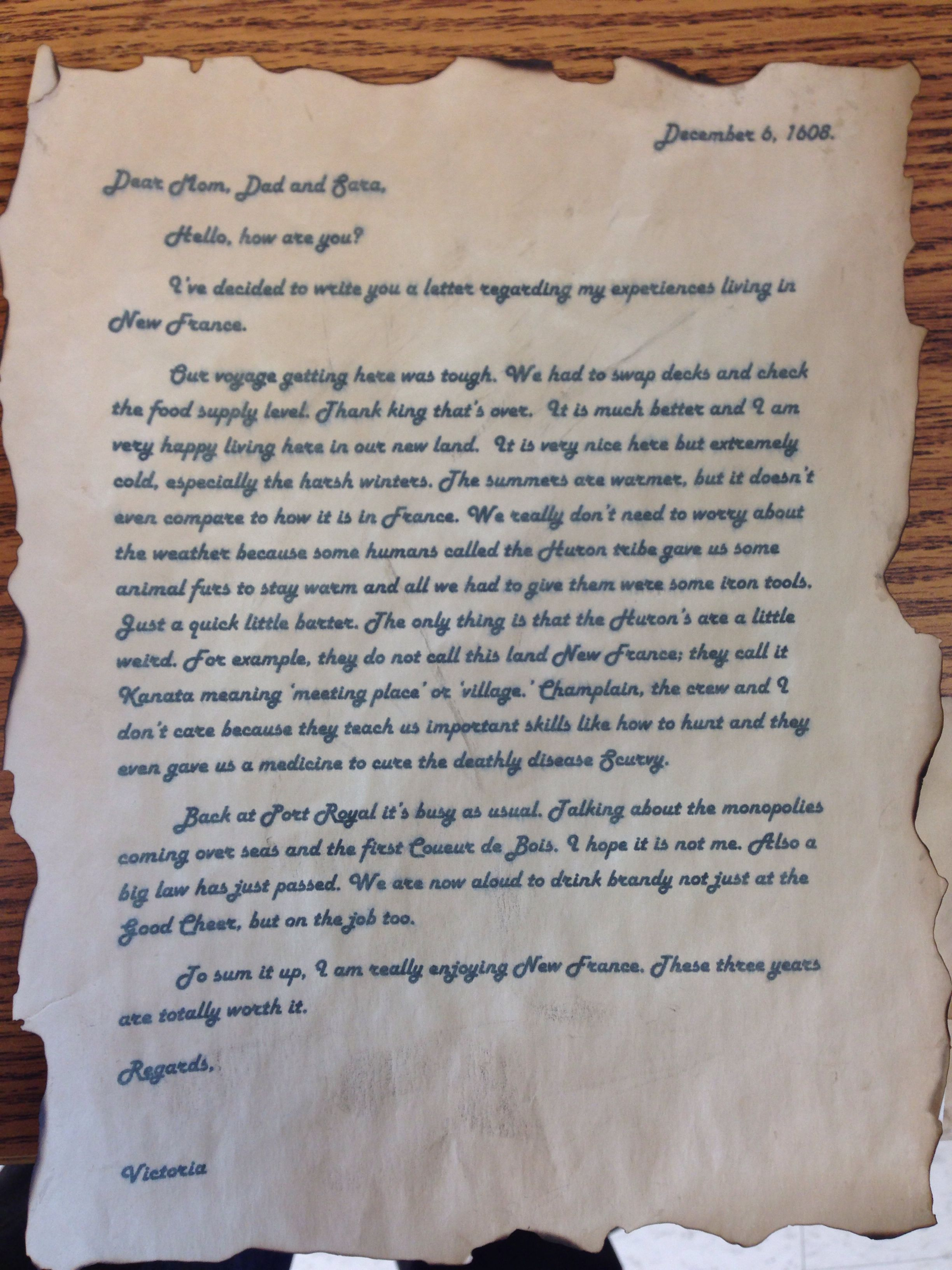 Grade 7 History Assignment  Students Write A Letter Fronting As One Of  Samuel De Champlain's
