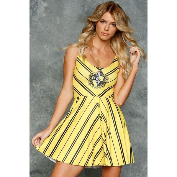 Hufflepuff Scoop Skater Dress LIMITED (£73) ❤ liked on Polyvore featuring dresses, harry potter, hufflepuff, skater dress and scoop-neck dresses