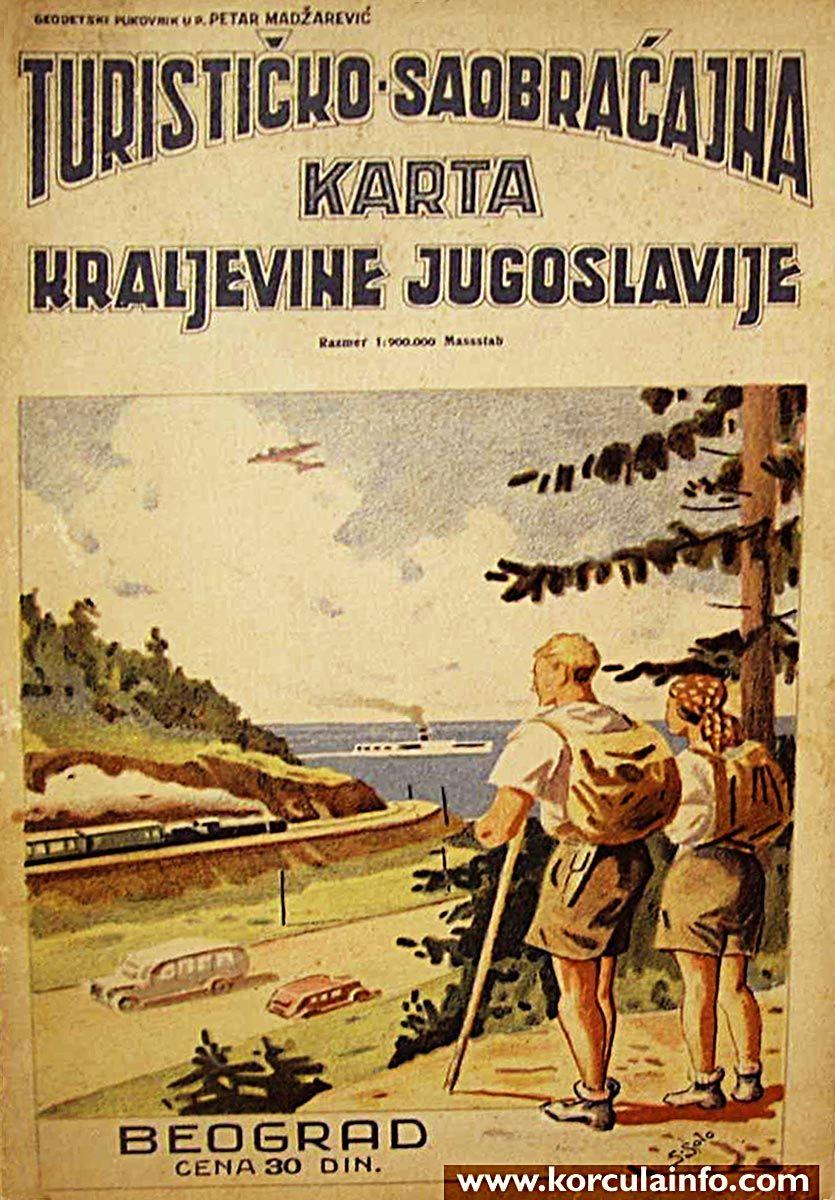 Tourist Map From 1930s Turisticko Saobracajna Karta Kraljevine