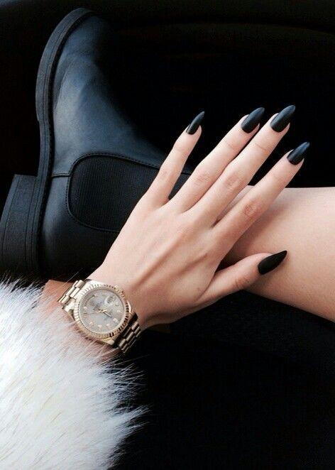 matte black almond nails. so sexy
