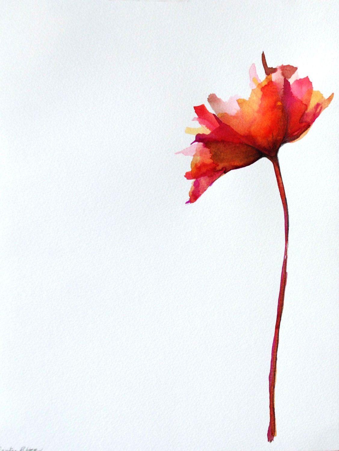 Original flower drawing on paper  Ink wash color watercolormodern
