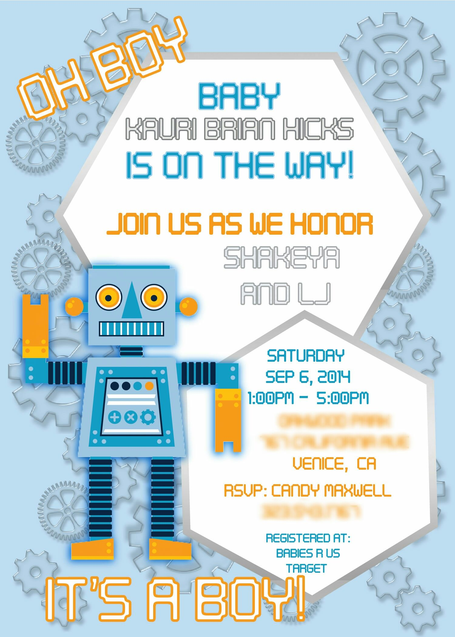 Custom Robot theme baby shower invitation. For inquiries please ...