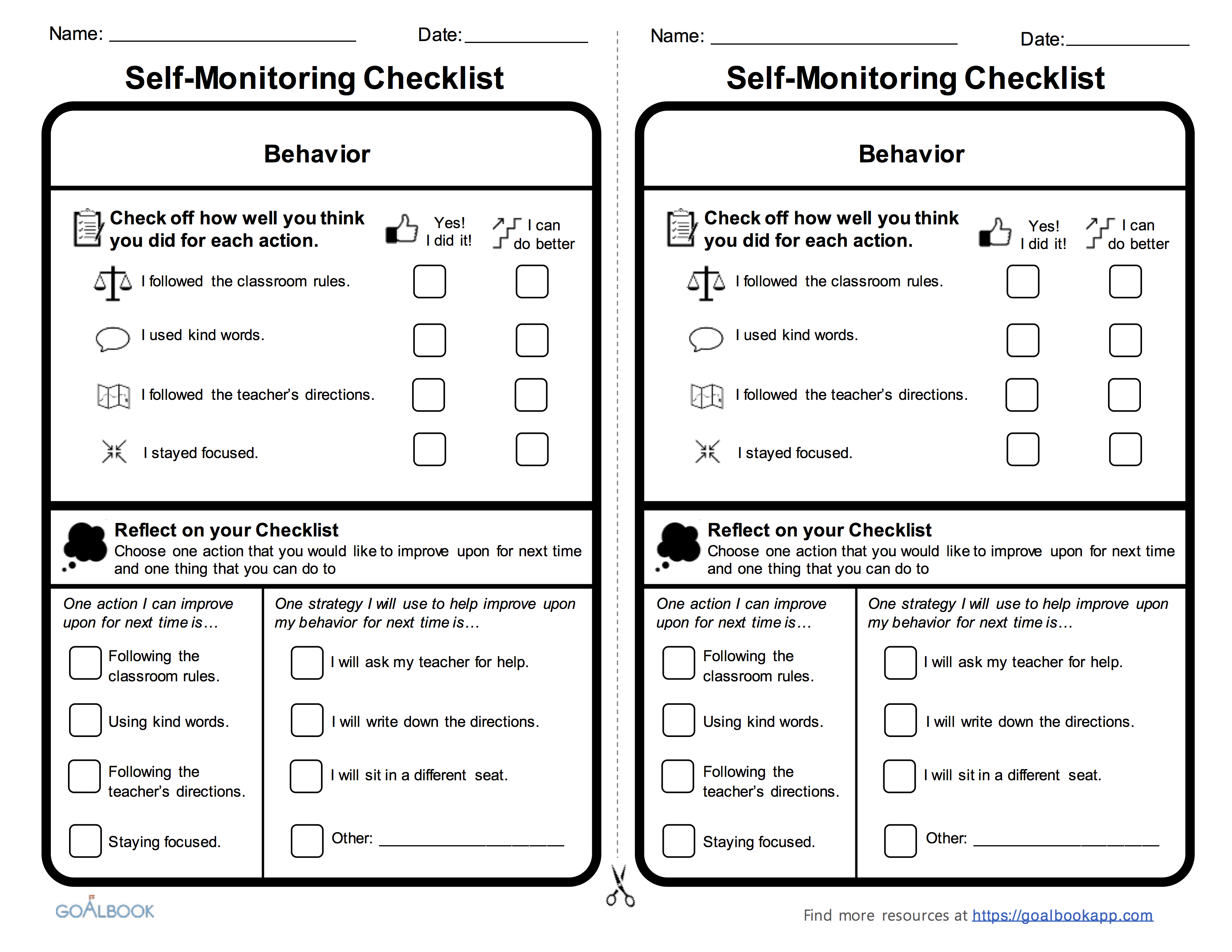 Behavior Self Monitoring Checklist