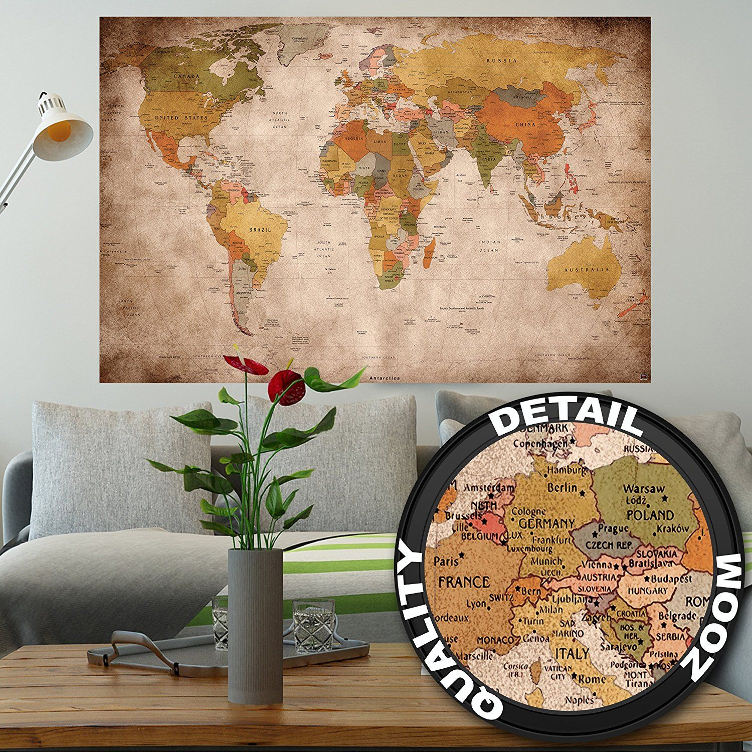 Amazon poster used look wall picture decoration globe amazon poster used look wall picture decoration globe continents atlas world map earth geography retro old school vintage map wallposter gumiabroncs Images