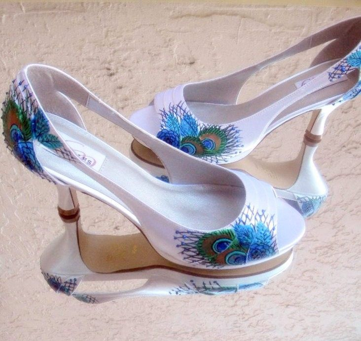 Wedding Shoes Painted Peacock 1950 Old Hollywood By Norakaren