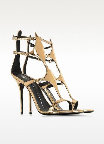 Bronze Metallic Patent Leather Sandal - Giuseppe Zanotti