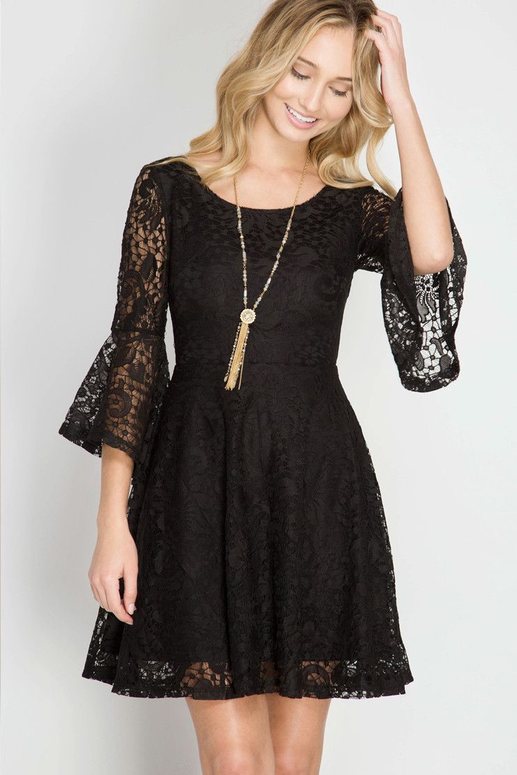 2f6700a6b6 Black Lace Bell Sleeve Dress