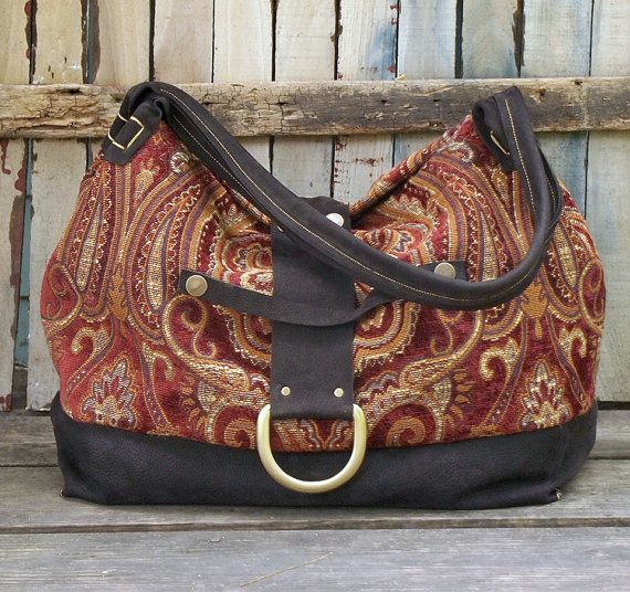 Large Leather and Tapestry Slouchy Tote Bag by LemondropDryGoods, $89.00
