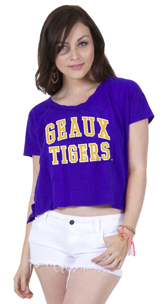 a18f3ac65728f6  35.99 Crop tops are here to stay! The LSU Geaux Tigers Crop Top is totally