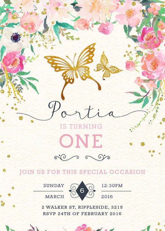 Butterfly Water Bottle Label Garden By LuckyPlumStudio Birthday Party Invitation Wording First