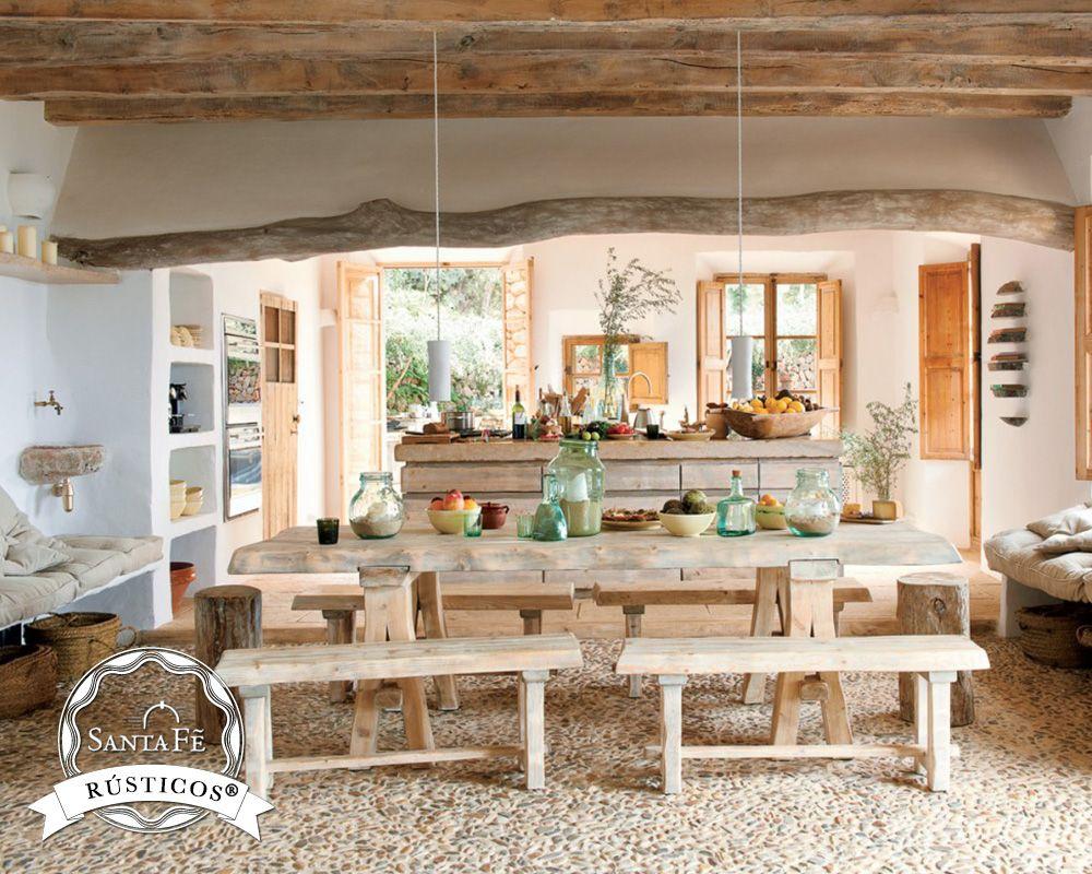 En La Cocina Una Gran Mesa De Madera Y Sillas C Modas Pueden Ser  # Muebles Santa Fe