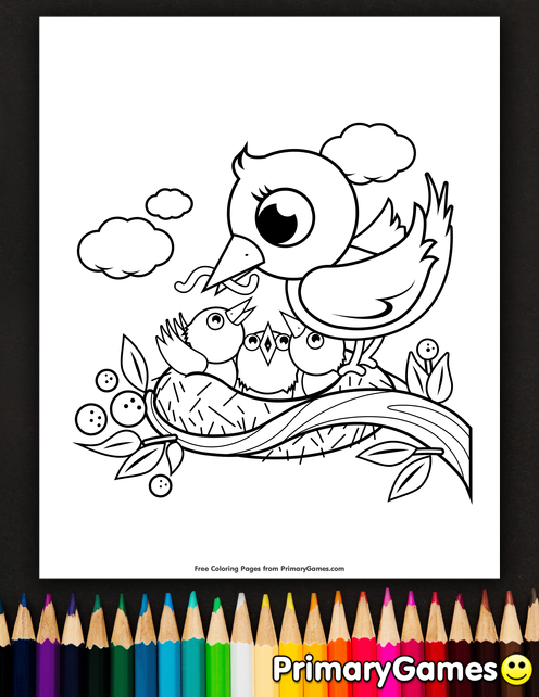 Mother And Baby Birds In A Nest Coloring Page Free Printable Ebook Bird Coloring Pages Coloring Pages Spring Coloring Pages