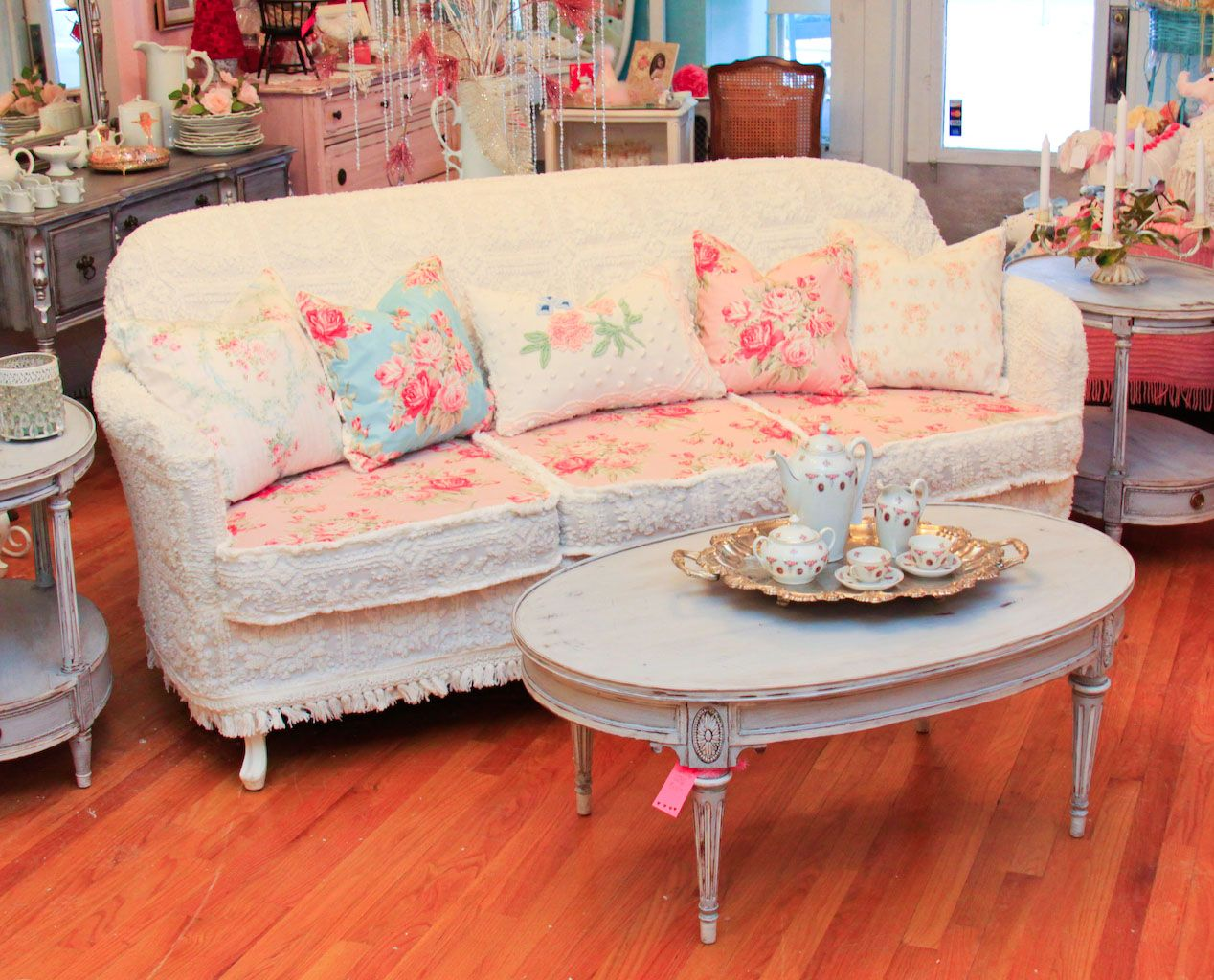 Merveilleux Vintage Chic Furniture Schenectady NY: OMG! Antique Sofa Chenille Bedspread  Slipcover Shabby Chic Wonderful