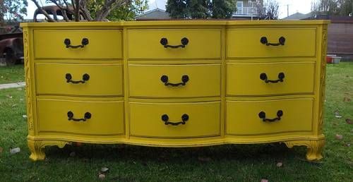 SHABBY CHIC/FRENCH PROVINCIAL DRESSER 9 DRAWERS SUNFLOWER YELLOW