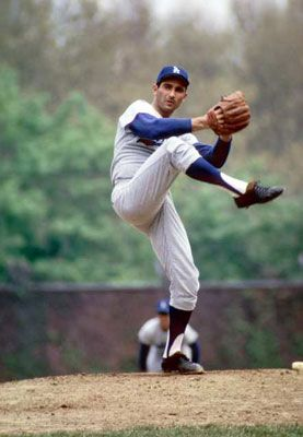Sandy Koufax, greatest left handed pitcher of all time!!!  When I was 12 yrs. old I wanted to marry him!!  Memories....going to the game with my dad and watching Sandy pitch a no hitter.