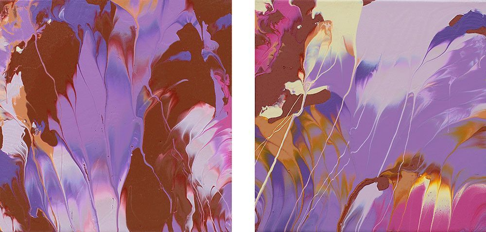 "As Above, So Below,"" original abstract painting, diptych, 10"" x 20"