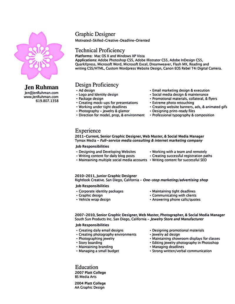 graphic designer resume must have a professional look starting from the words selection to the