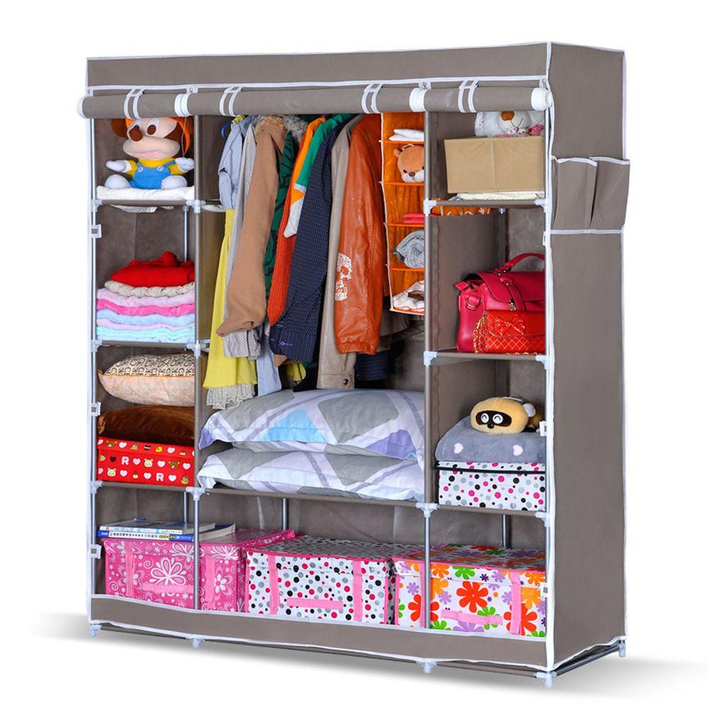 ➤Folding Wardrobe Closet Clothes Storage Organizer Armoire Cabinet 2 Armoire  Wardrobe Storage Cabinet By I00