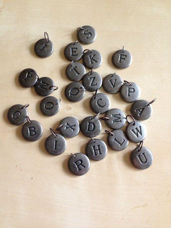 Monogrammed Metal Zipper Pull Charms